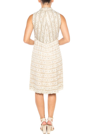 1960S White Metallic Rayon & Lurex Lace Crystal Encrusted Cocktail Dress