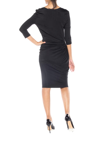 2000S ALEXANDER MCQUEEN Black Viscose Jersey Mcq Slinky 3/4 Sleeve Cocktail Dress