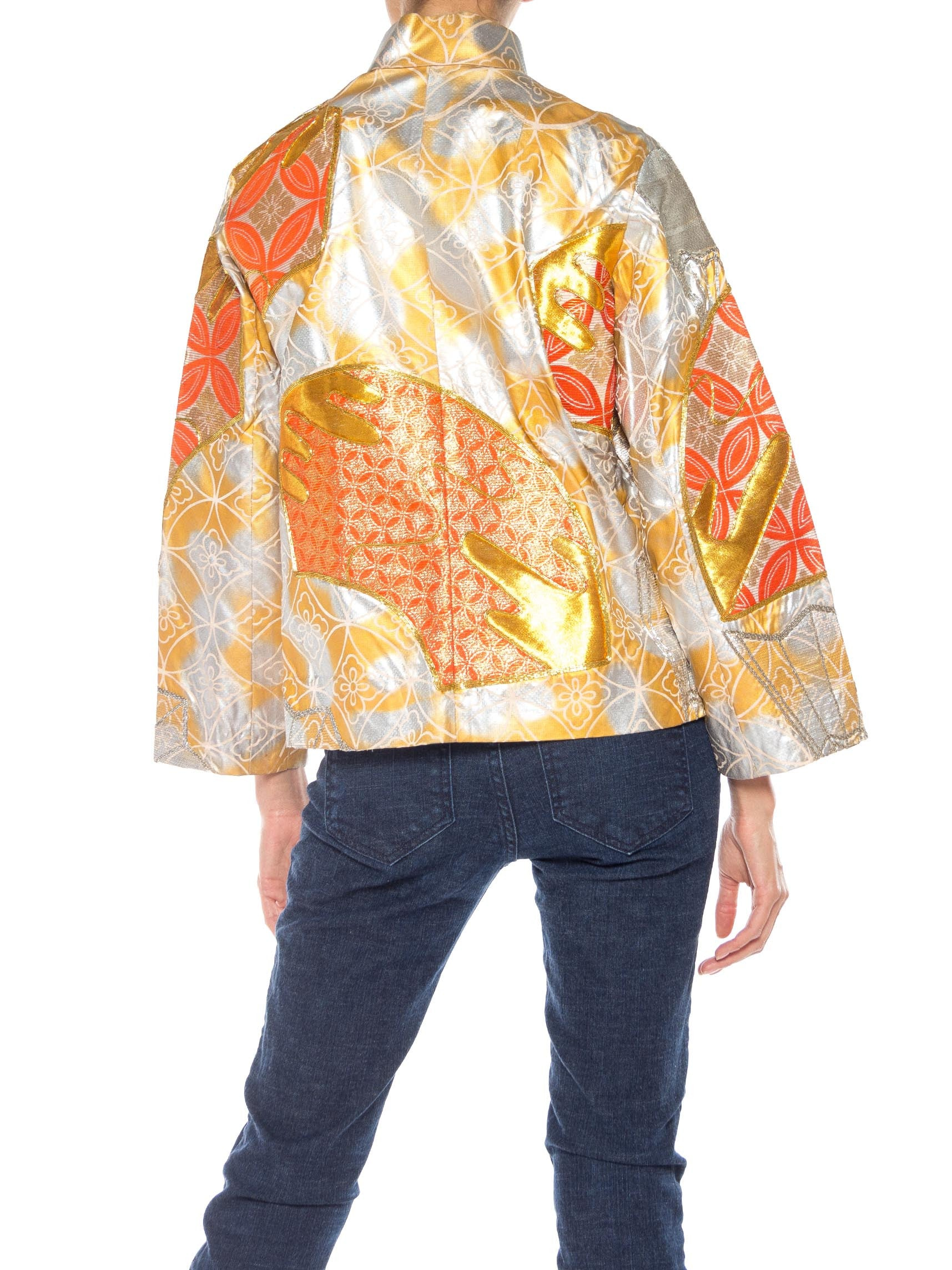 1960S Gold & Orange Silk Hand Painted Embroidered Chinese Mandarin Jacket