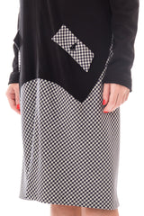 Geoffrey Beene Black Wool and Gingham Minimalist Dress