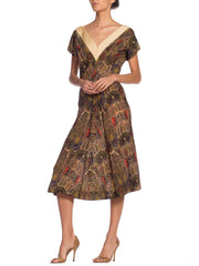 1950s Claire Mc Cardell Wool Paisley Dress