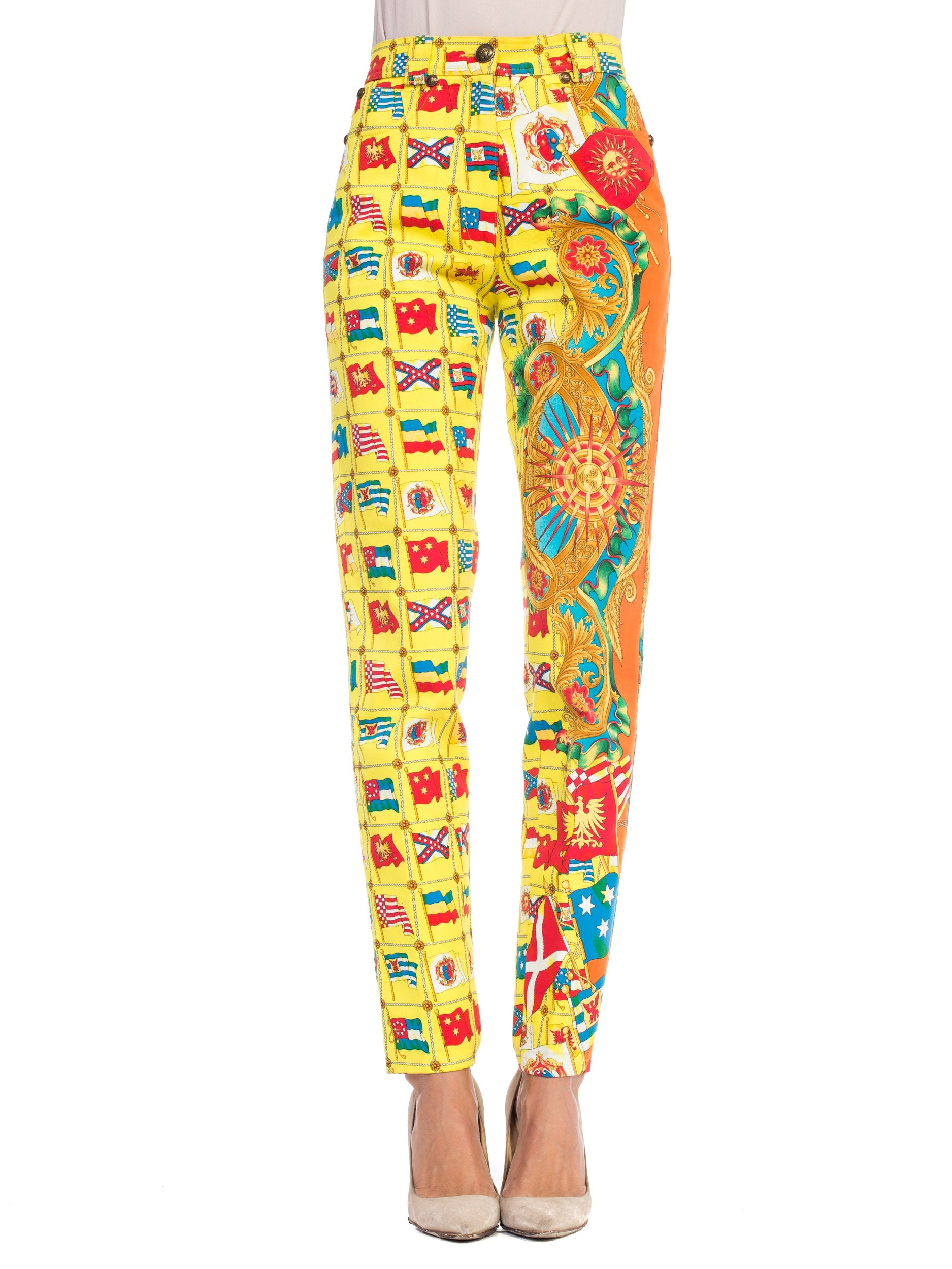 1990s Gianni Versace Miami Collection Printed Jeans