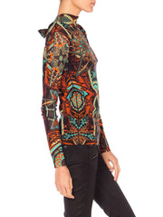 Jean Paul Gaultier Abstract Geometric Print Tie-Neck Sheer Mesh Shirt