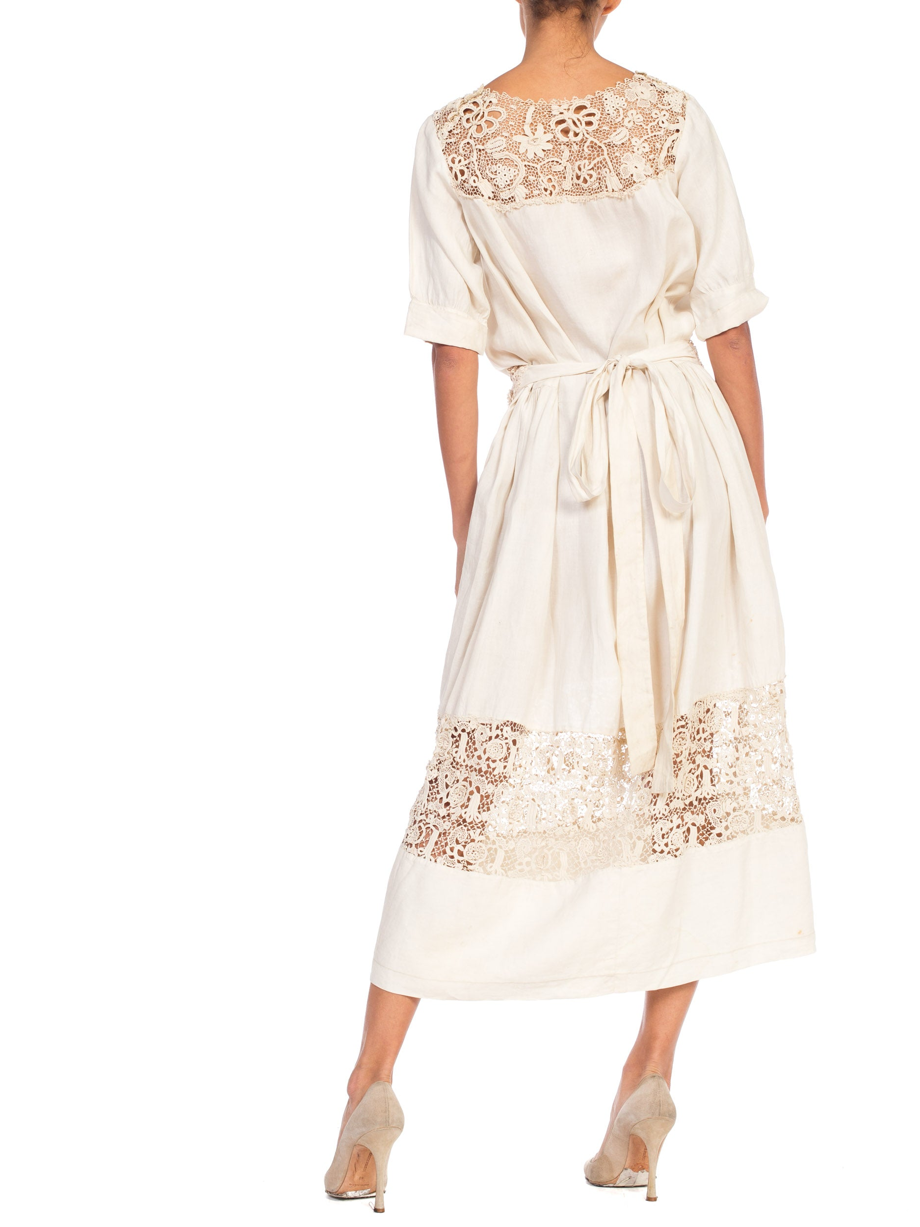 Edwardian Ecru Linen Tea Dress With Hand Made Irish Crochet Lace Panels