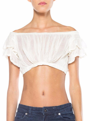 1800S White Cotton Voile Precursor To The Bra Top Dating From Around 1820