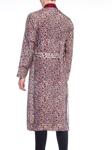 1950S Japanese Silk Fully Lined Hand Printed Paisley Mens Robe