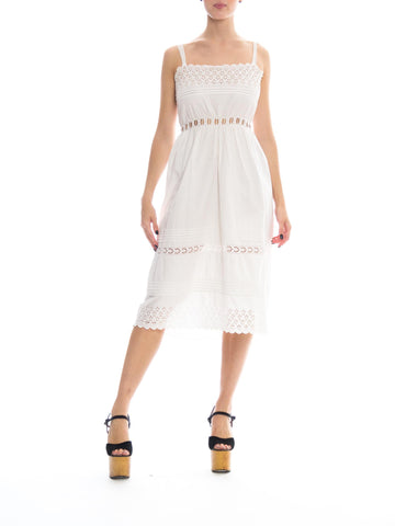 Edwardian White Cotton Eyelet Lace Clean & Simple Summer Dress