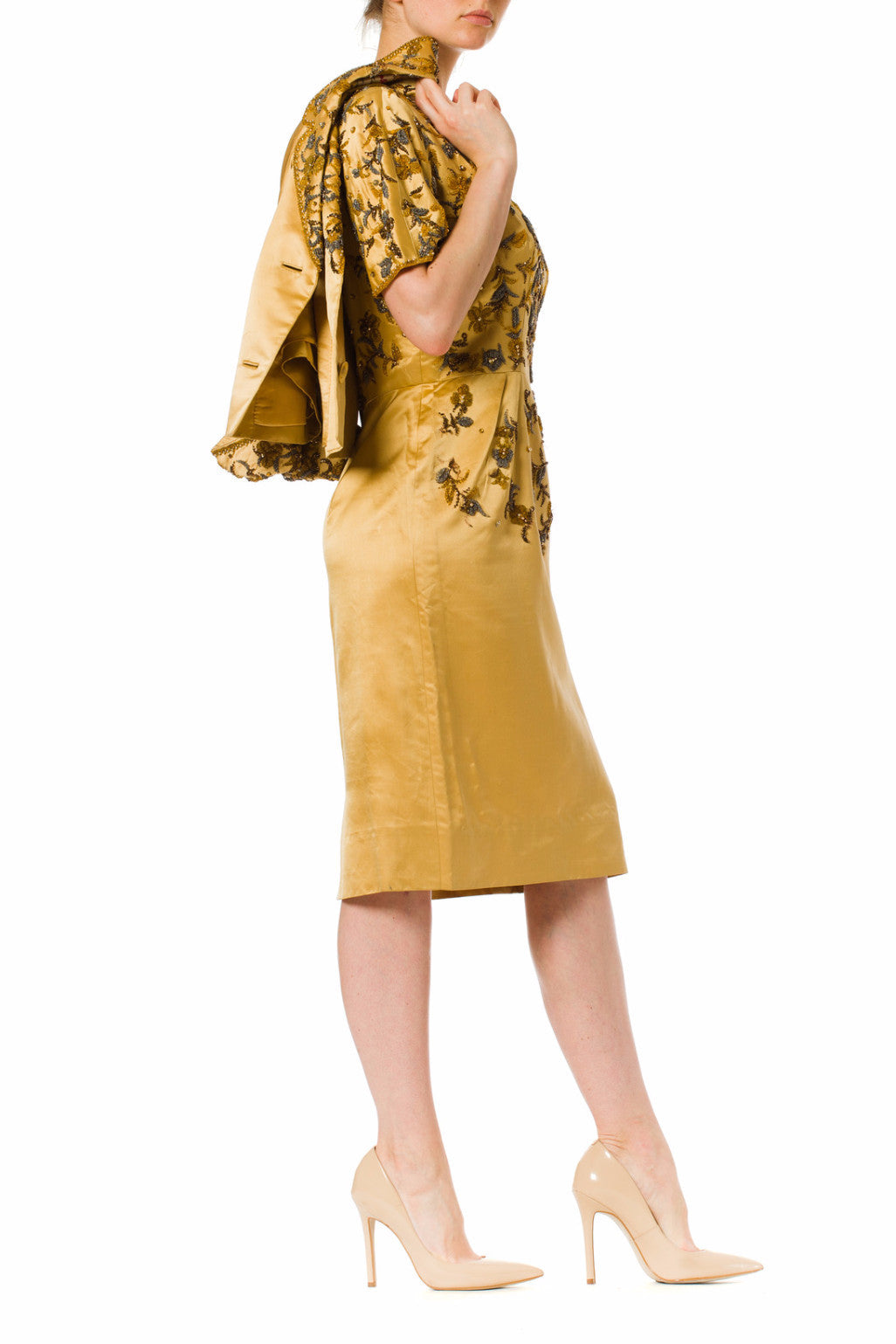 1950S CHRISTIAN DIOR Style Gold Haute Couture Silk Duchess Satin Beaded Cocktail Dress With Matching Jacket