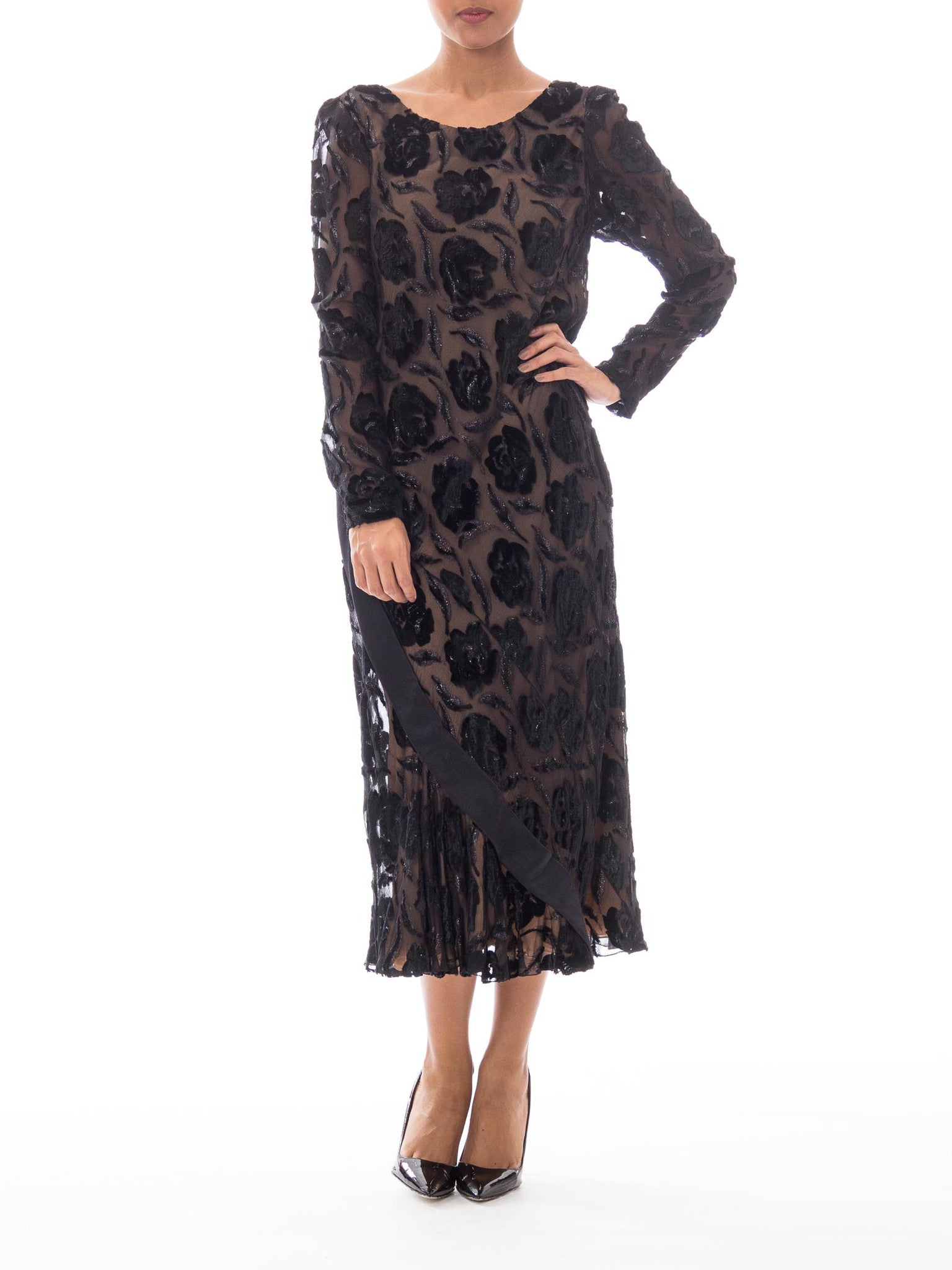 1970S Stavropoulos Black Bias Cut Silk Lurex Burnout Velvet Cocktail Dress With Sleeves
