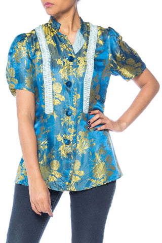 1930s Floral Silk Jaquard Short Sleeve top