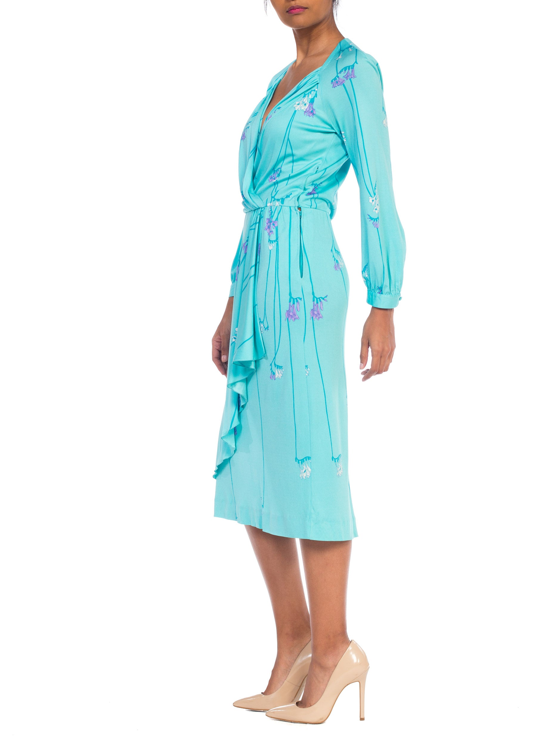 1970S De Parisini Aqua  Blue Silk Jersey Floral Dress Made In Italy