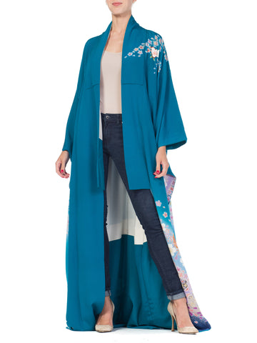 Hand Printed Japanese Silk Kimono in Teal