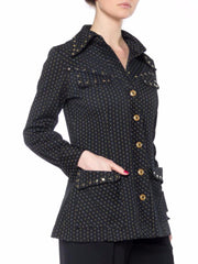 1970s Polyester Studded Jacket with Pinstripes