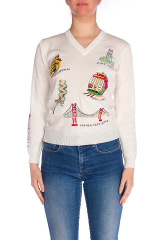 V-Neck Sweater With San Francisco Embroidery