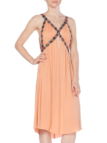 Morphew Collection Peach Silk Jersey Dress With Cutout Front & 1930S Floral Trim