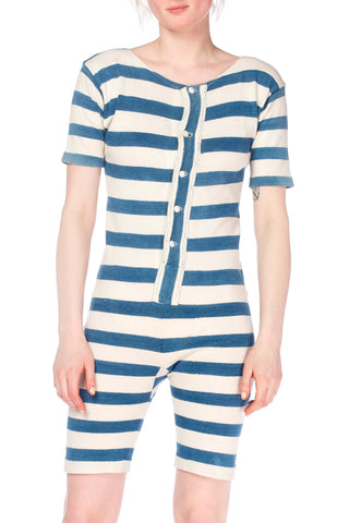 Victorian Striped One Piece Swimsuit