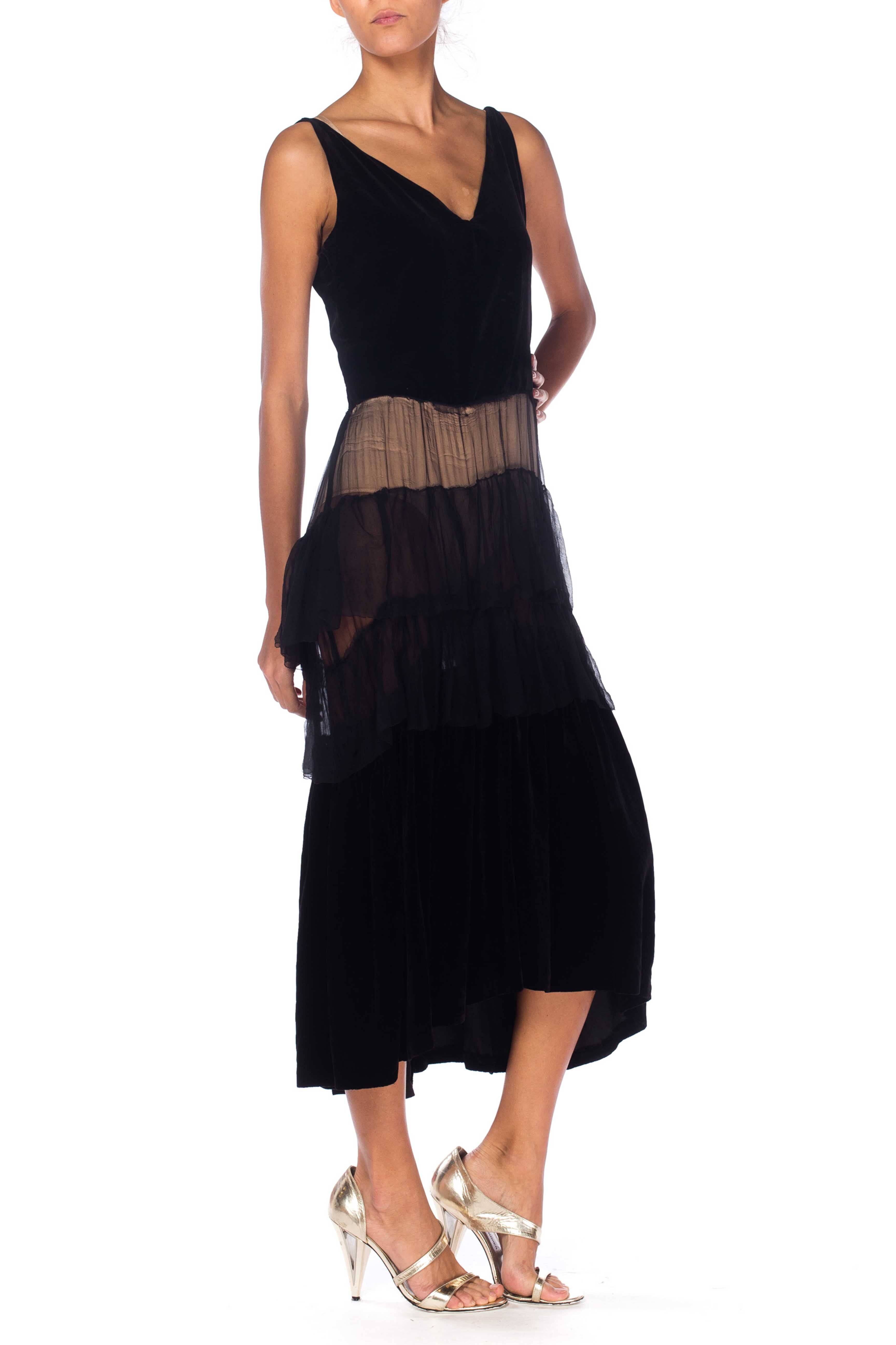 1930S Black Silk Velvet  Spaghetti Strap Cocktail Dress With Chiffon Ruffle Skirt