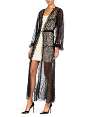 Morphew Lab Sheer Black Lace Balloon Sleeve Robe