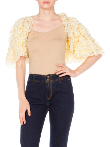 Cream White Layered Ruffled Lace Caplet