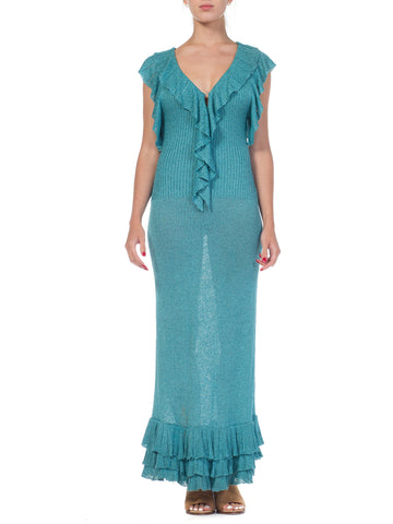 1970s Ruffled Knit Crochet Maxi Dress