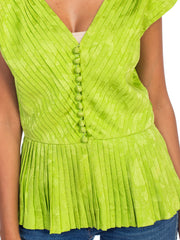 1980S Lanvin Lime Green Haute Couture Silk Jaquard Pleated Top With Shoulder Pads