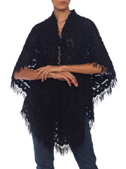 1880-1890s Late Victorian Lace Applique Dolman Cape