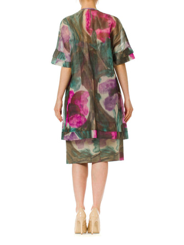 1950S BALENCIAGA Style Watercolor Abstract Ikat Floral Dress