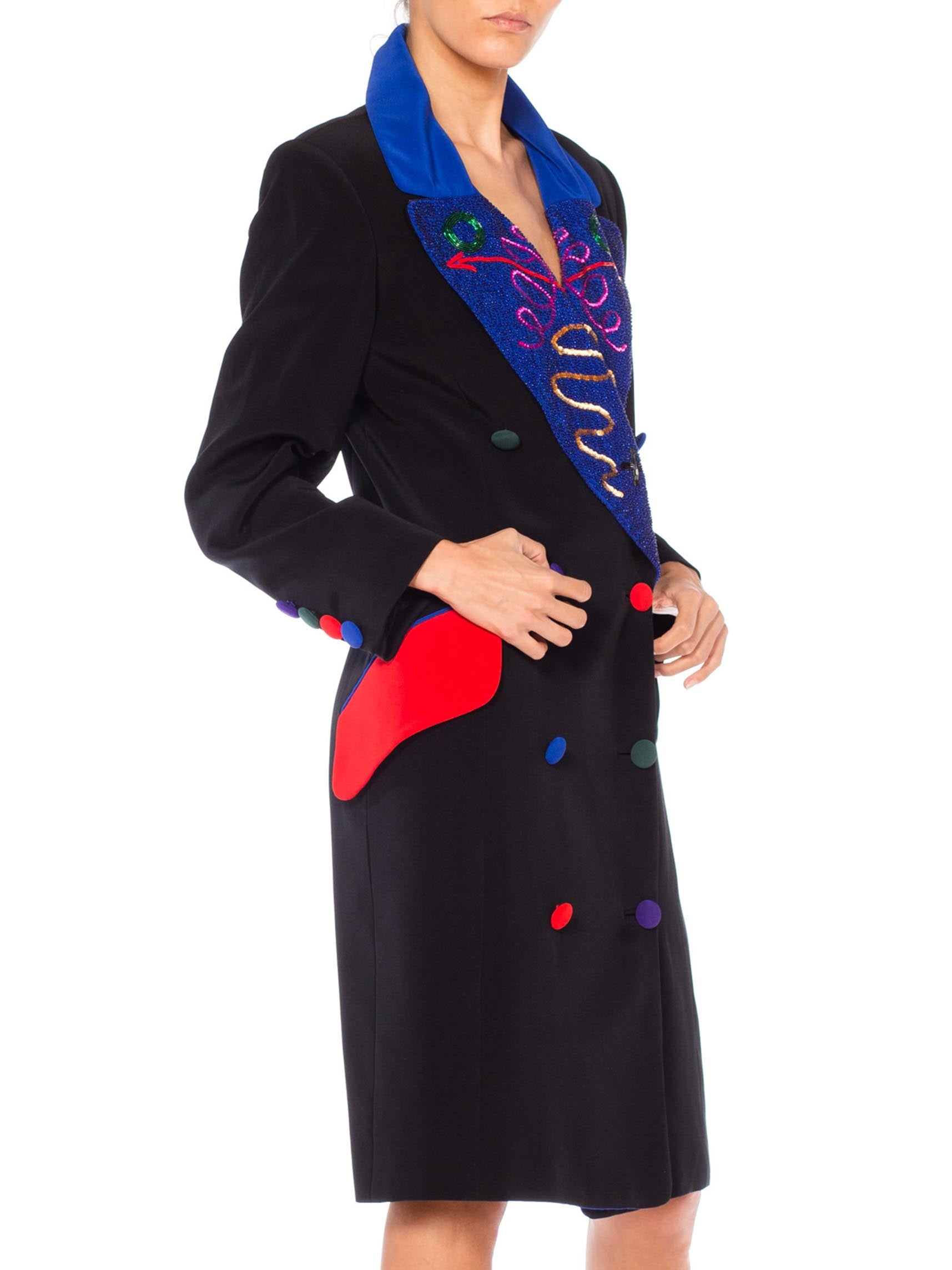 1980S FABRICE Black Poly Blend Faille  Double Breasted Long Blazer Cocktail Dress With Beaded Lapels