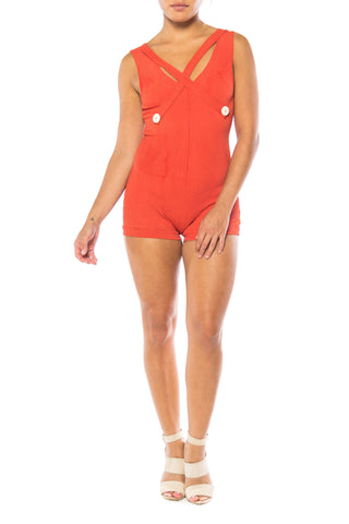 1930S Red Orange Rayon Bathing Suit With Buttons Swimsuit