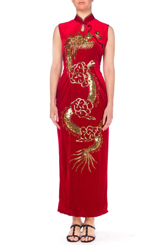 Red Velvet Asian Dress With Sequined and Beaded Dragon