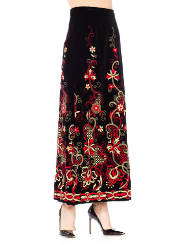 1960S Black Cotton Velvet Maxi Skirt With Red And White Floral Embroidery