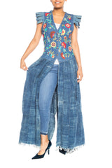 Morphew Collection Floral Embroidered Cotton Denim & African Indigo Maxi Vest Dress