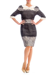 1950s Style Striped Lace Dress with Peter Pan Collar and Bow