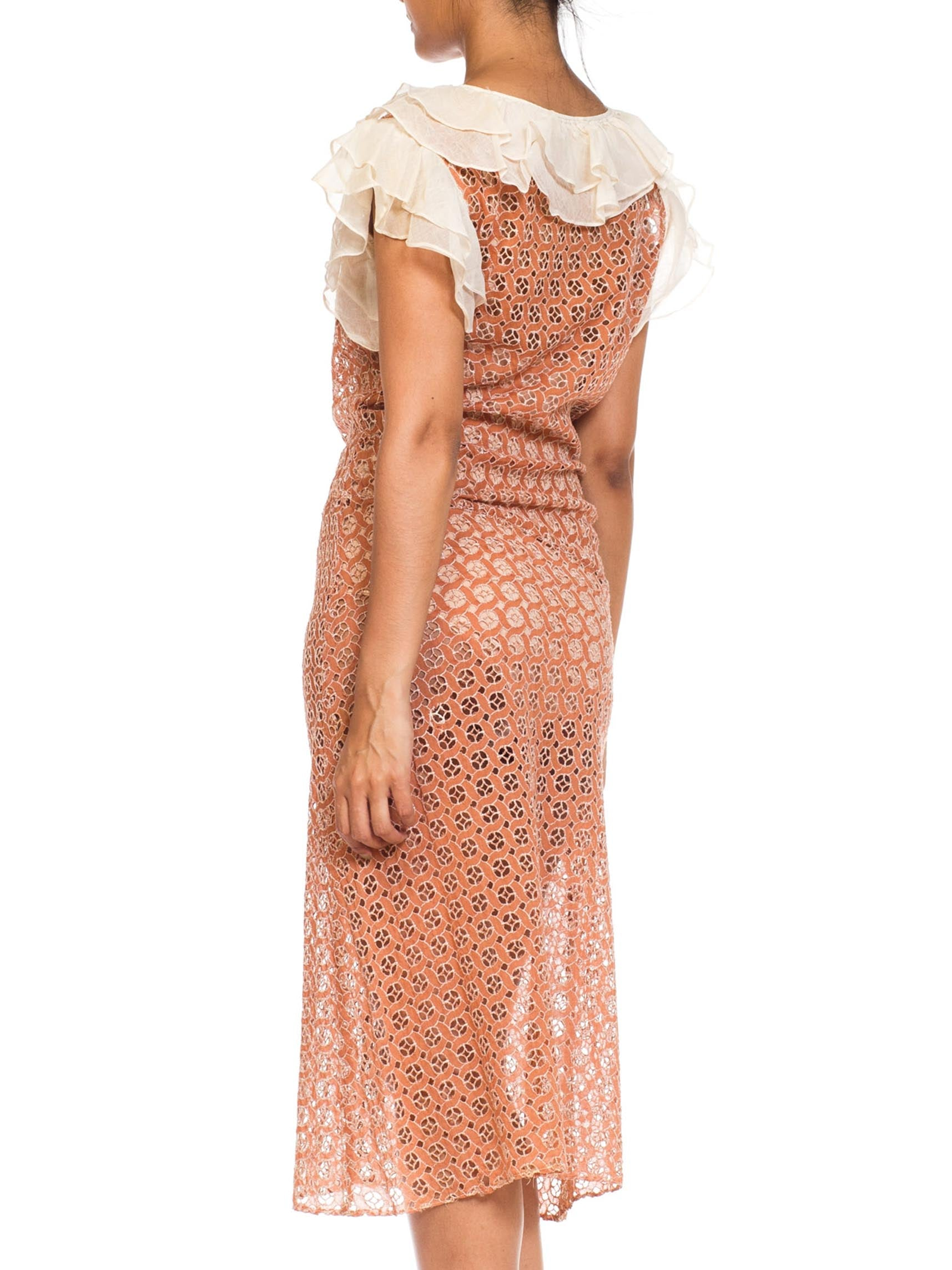 1930S Cotton Embroidered Geometric Eyelet Dress With Organdy Ruffles