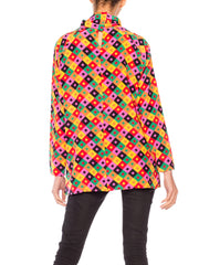 1980s Guy Laroche Psychedelic Rainbow Turtle Neck Top