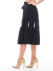 1990s Black Smocked Draped Midi Skirt with Tassels