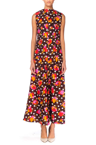 1960S Polyester Floral And Dot Printed Jumpsuit
