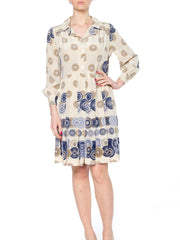 Geometric Printed Silk Dress with Pleated Skirt