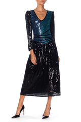 Neil Bieff Sequin Beaded Dress, 1970s