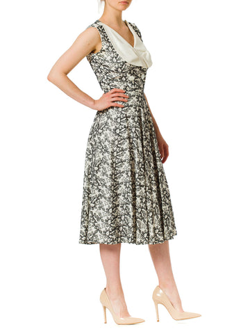 1950s Embroidered Linen Sleeveless Draped Dress with Wide Collar