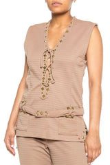 1970s Gold Studded Lace Up Tunic And Pants in Taupe