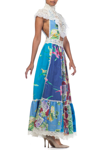 Morphew Collection Backless Vintage Tropical Shirt Patchwork Maxi Dress With Antique Lace