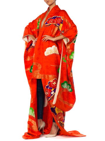 1960S Red Silk Orange Metallic Embroidered Bamboo Floral Long  Kimono