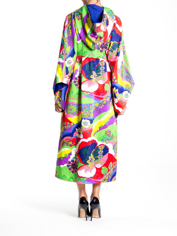 1970S Multicolor Psychedelic Polyester Empire Waist Bell Sleeve Hooded Dress