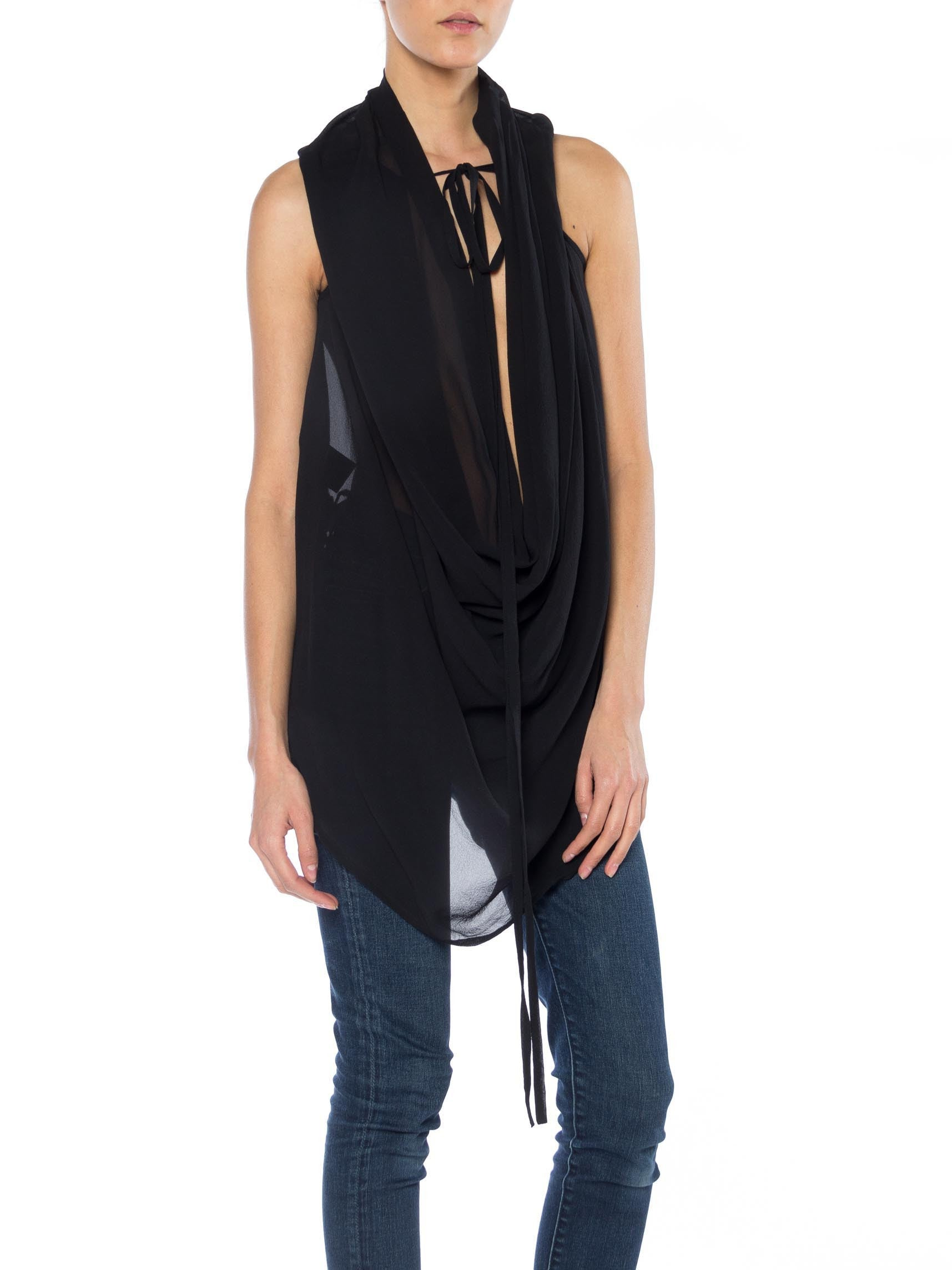 1990S Ann Demeulemeester Black Silk Chiffon Draped Tie Neck Top | Shop Ann Demeulemeester | Vintage Clothing | New York City | 24hrs- Free Return policy | US Free Shipping | Pre-owned Clothing | Sustainable fashion | Vintage tops