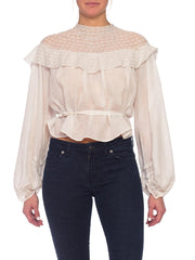 1890s Victorian Organic Cotton & Lace Blouse with 1850s Style Sleeves
