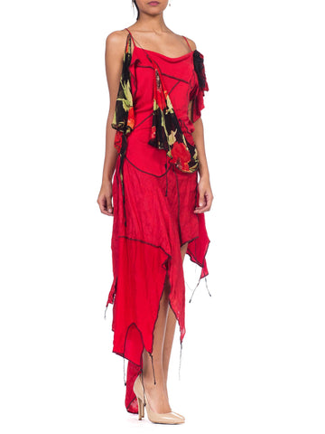 MORPHEW COLLECTION Red 1990S Deconstructed Silk Chiffon & Knit Dress