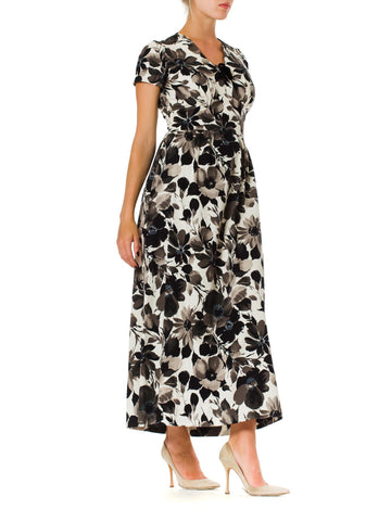 1950S Black & White Floral Print Cotton Empire Waist Dress With Cap Sleeves
