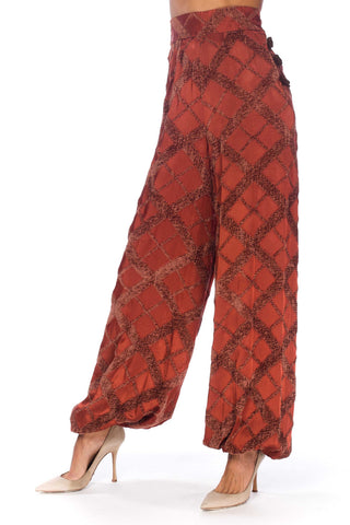 1930S Russet Brown Rayon Blend Satin & Chenille Harem Pants With Leather Toggles