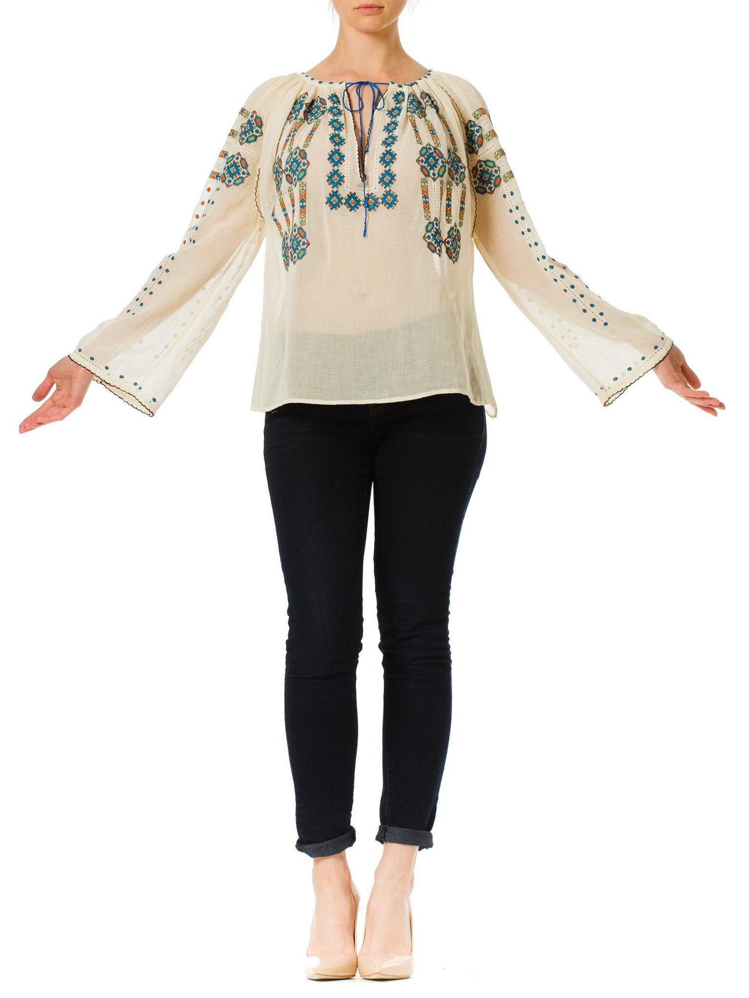 1970s Boho Peasant Style Cross Stitch Hand Embroidered Blouse